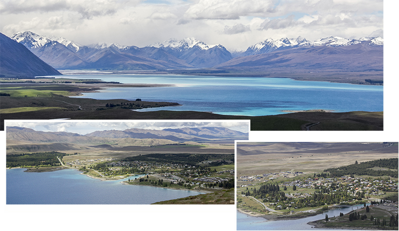 Lake Tekapo as view from Astro Cafe of Mount John Observatory
