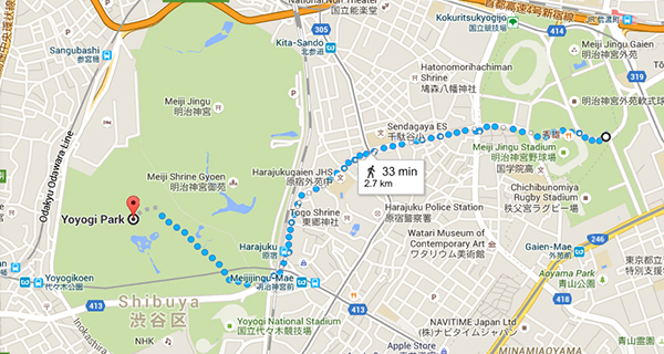 Walking route from Icho Namiki Avenue to Yoyogi Park