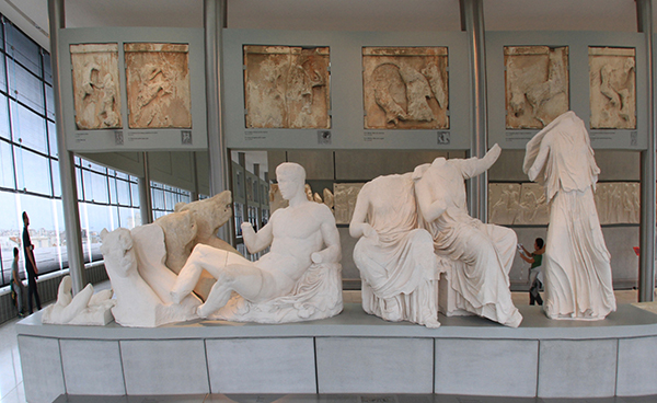 Life size replicas of the statues on the pediment of the Parthenon