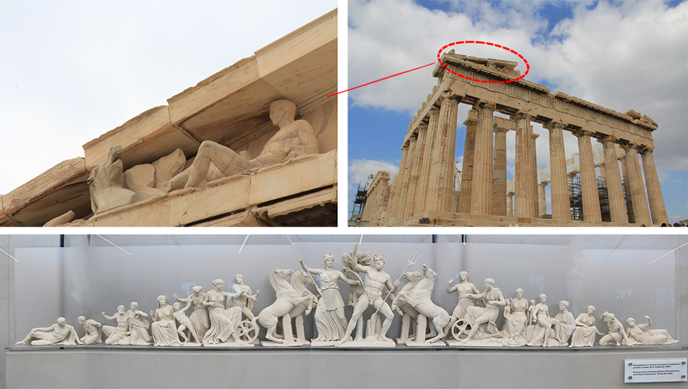 A minature pediment of the Parthenon with all the statues of gods and goddesses.