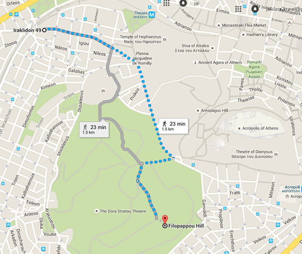 Walking route to Filopappou Hill