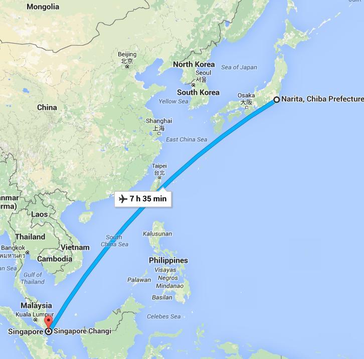 flight from Singapore to Narita