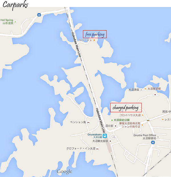 Free Carpark and Paid Carpark at Lake Onuma