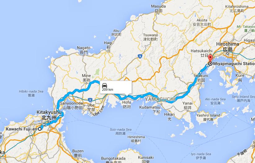 Driving route to Miyajima Jetty