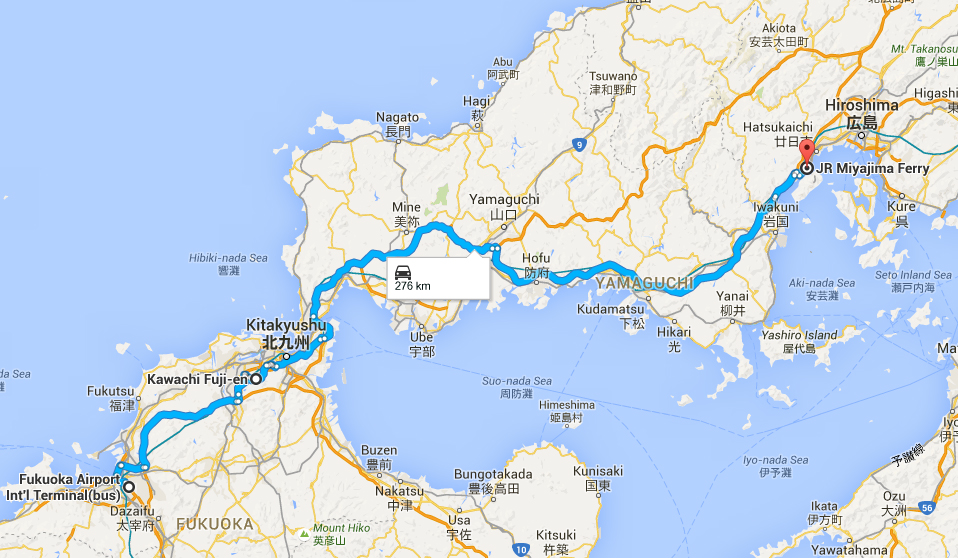 Driving route from Fukuoka to Miyajima guchi station
