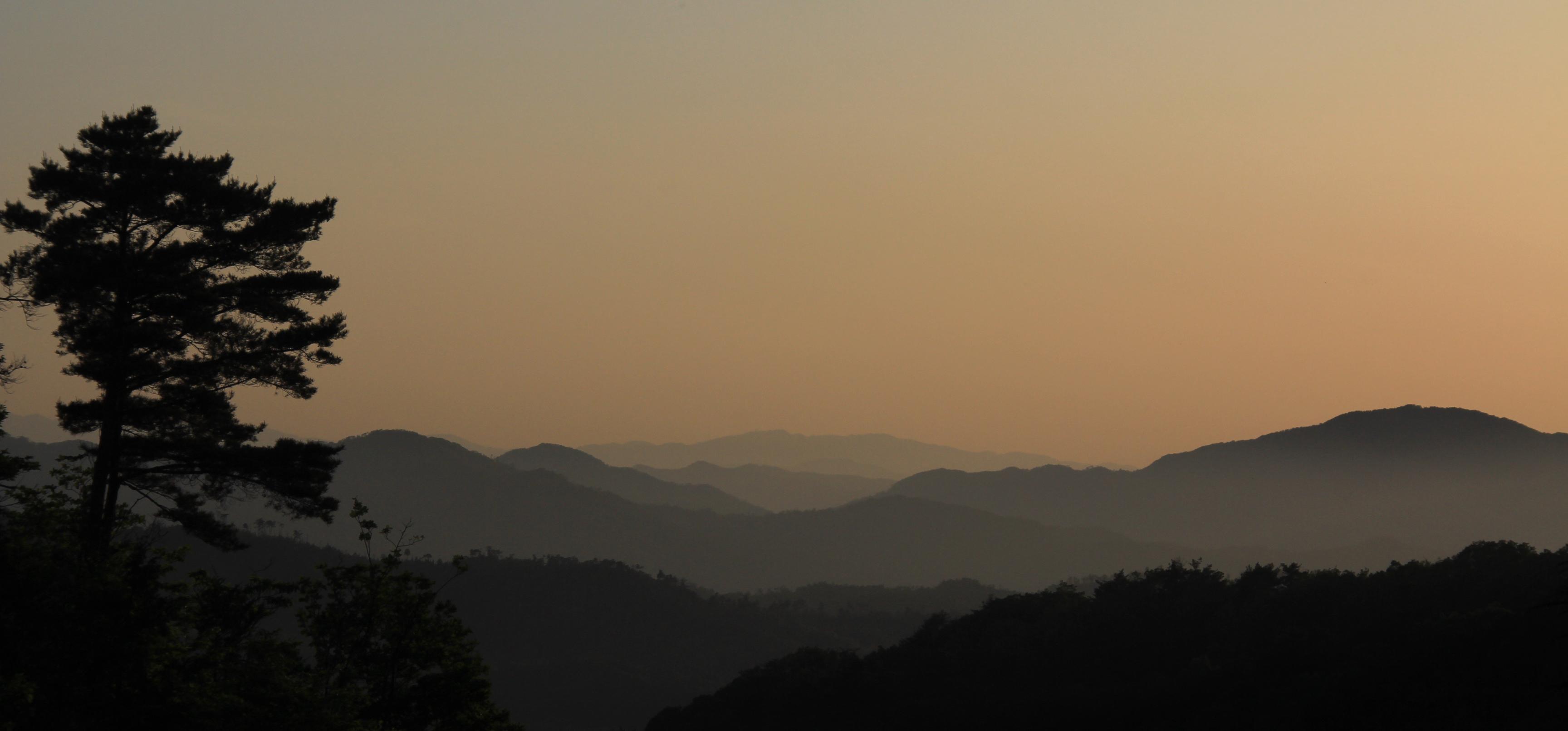 Sunset as view near Nachi-ji Temple