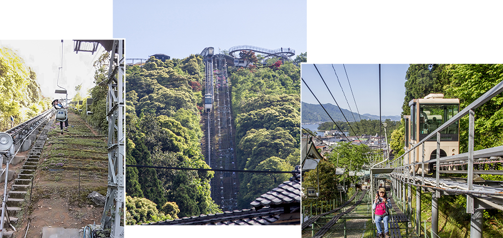 Chair Lift & Monorail up Amanohashidate Observation deck in amusement park