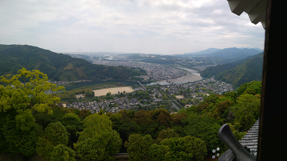 Panorama view of Iwakuni City from the castle keep