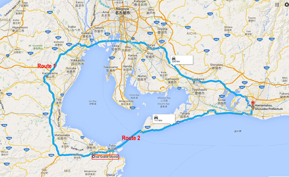 Two routes from Ise Jingu to Hamamatsu City
