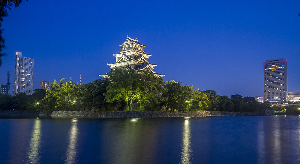 Hiroshima Castle at 7.30 pm (after the sun set)