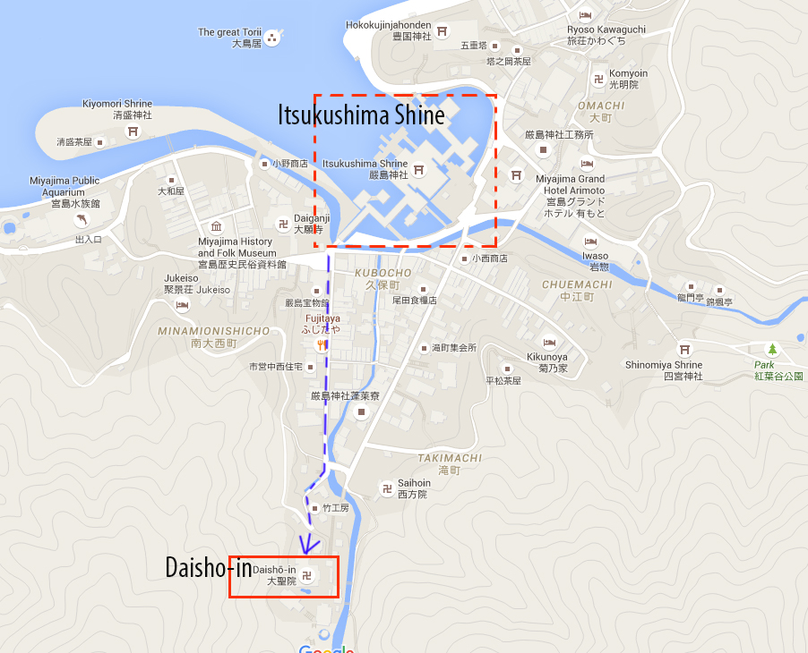 Walking route to Daisho-In temple
