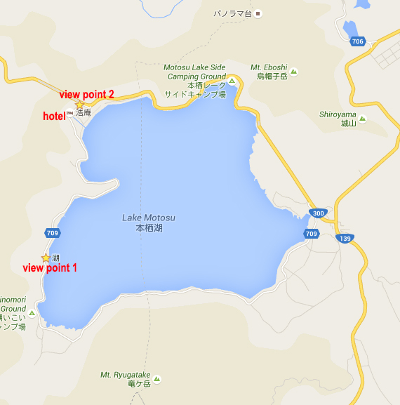 Lake Motosu (Viewpt1 mapC: 312 443 684 coords: 35.459050, 138.570377) (Viewpt2 mapC: 312 504 489 coord: 35.474317, 138.574292)