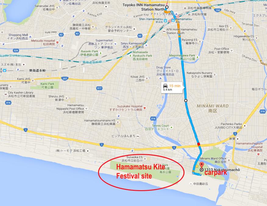 Hotel to Carpark near the Kite Festival Site