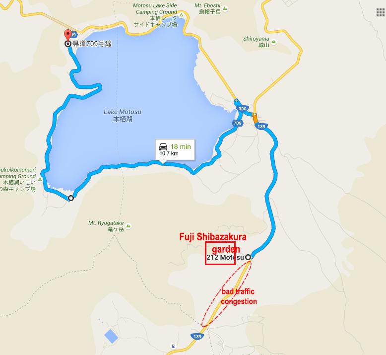 Bad Traffic Congestion at Turn off to Fuji Shibuzakura Garden