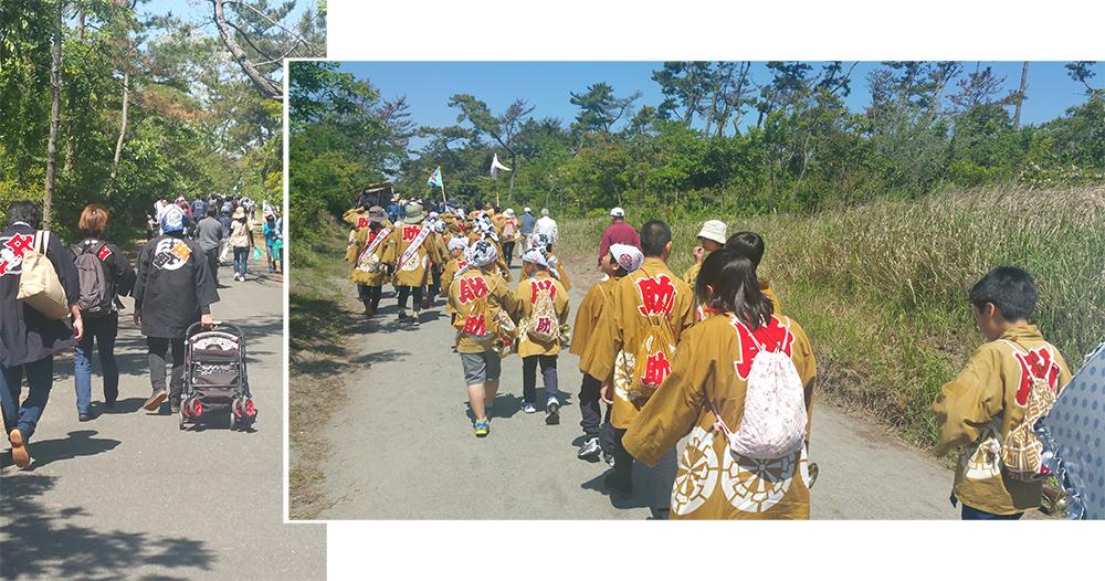 Walking to the Kite festival site