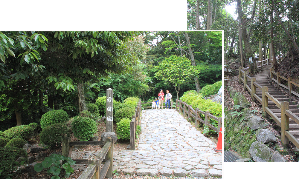 Path from ropeway to Iwakuni Castle