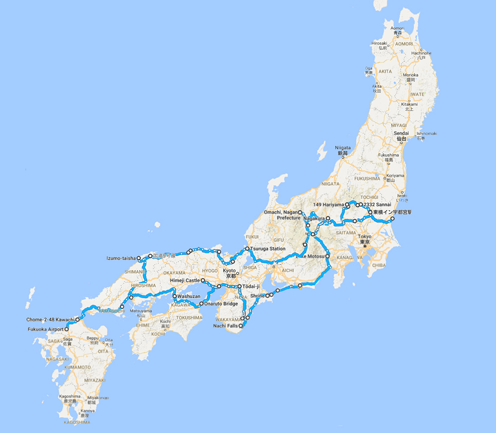 Driving route for 19 days in Japan