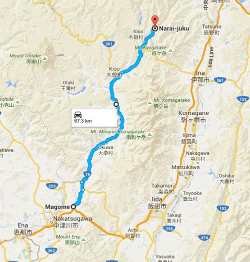 Route from Magome to Narai