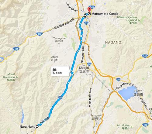 Route to Matsumoto Castle