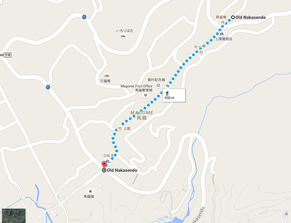 Walking trail at Magome (Mapcode: 178 383 486*13)