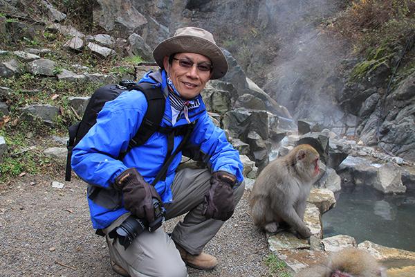 Yat Thong and a monkey