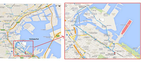 Walking route at Yokohama Port Waterfront
