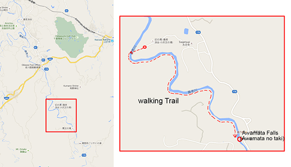 Walking Trail to Awamata Falls. Trail start (Mapcode: 309801 694)