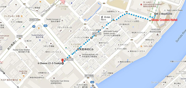 Walking route from hotel to Tsukiji Fish Market