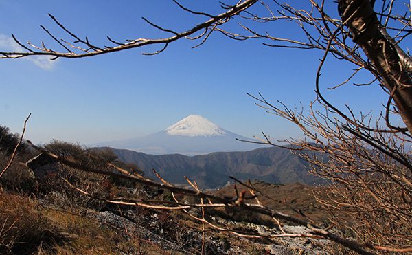 Mt Fuji as view from Owakudani Boiling Valley