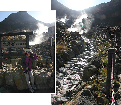 Walking trail around Owakudani Great Boiling Valley