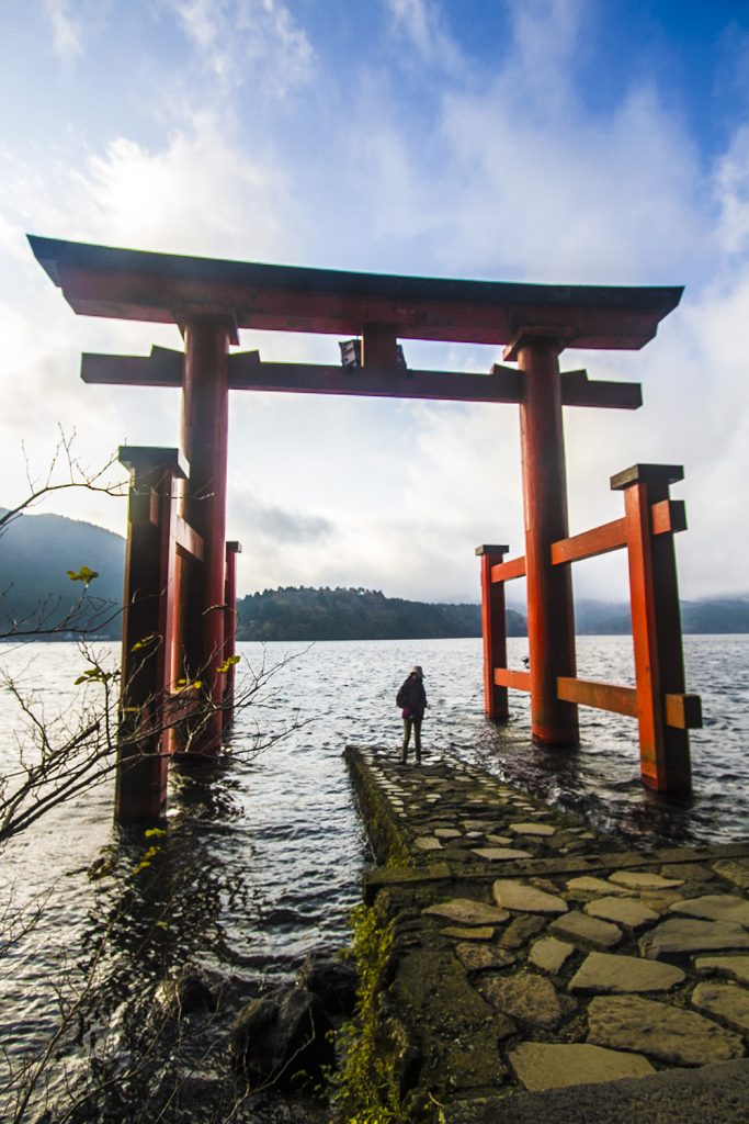 Torri gate (Hakone shrine) on Lake Ashi