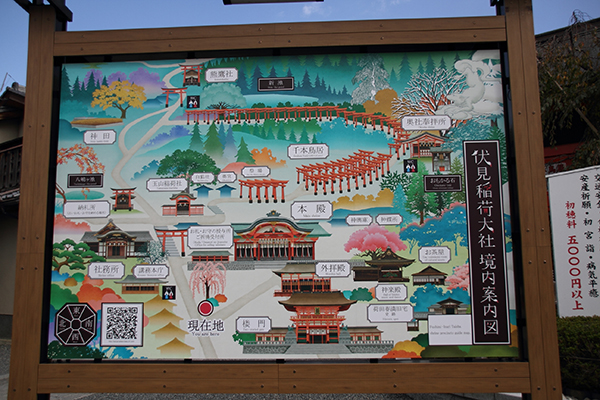 Map of Fushimi Inari Taisha compound