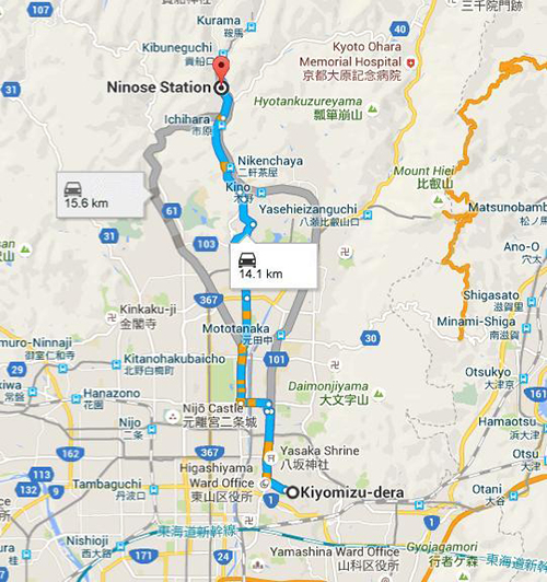 Route from Kiyomizu-dera temple to Ninose Station
