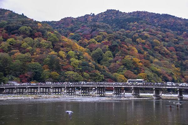 Togetsu-kyo Bridge crossing Katsura River to the base of Arashimyama Mountain