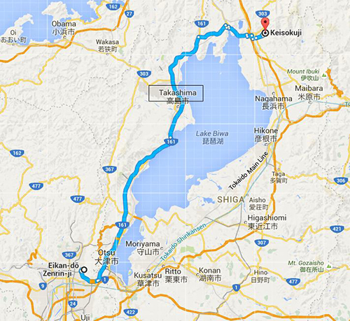 Route to Keisokuji Temple (mapcode: 460 301 308*61)