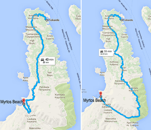 Long and short routes to Myrtos Beach