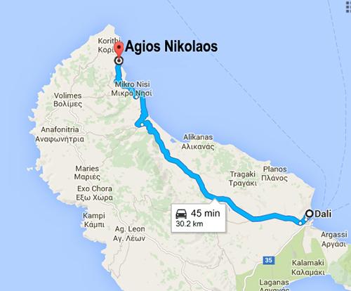 route from Dali Hotel to Agios Nikolaos (port)