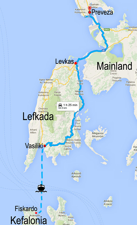 ferry route and driving route from Vasiliki to Preveza