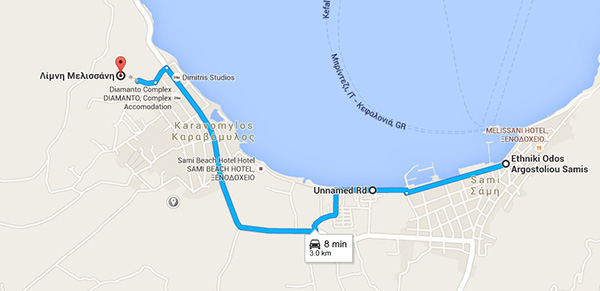 Route from Sami Port to Melissani Cave
