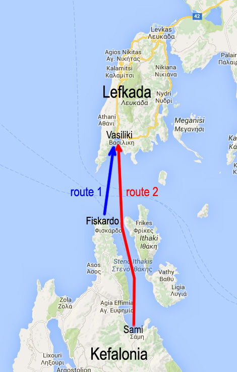 two ferry routes to the next Lefkada