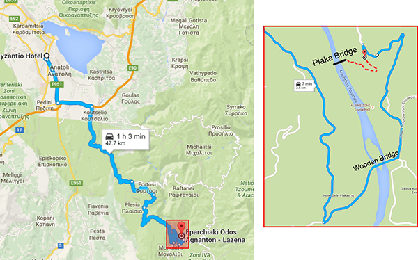 route to Plaka Bridge