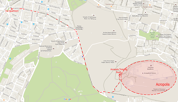 Walking route from Iraklidon Street to The Acropolis