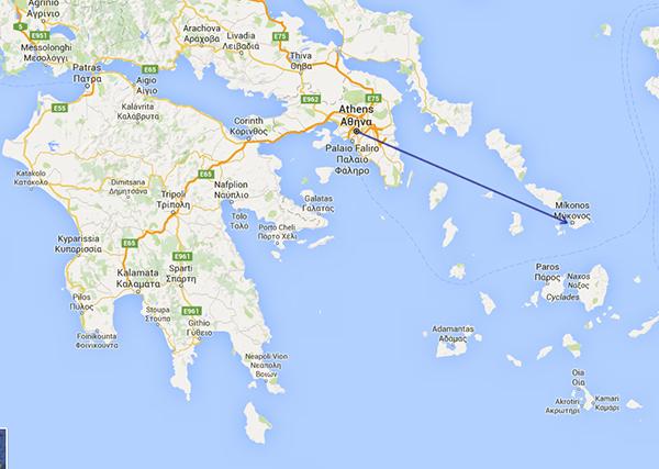 Athens to Mykonos