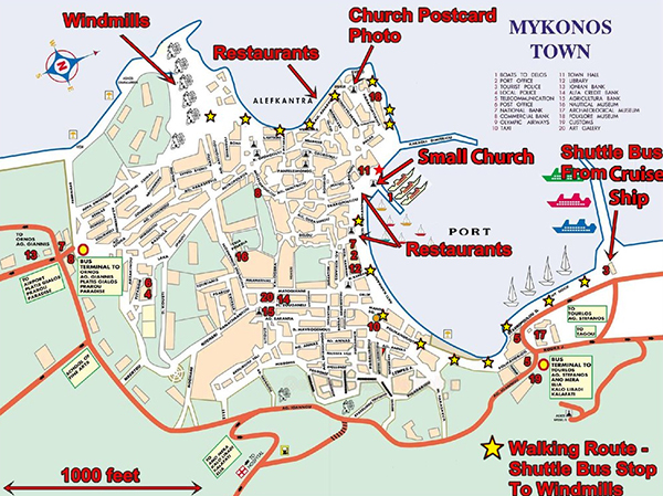 Mykonos Town (Yellow stars — attractions)