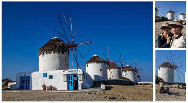 Mykonos Windmills (co-ordinates: 37.444607, 25.325640)