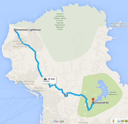 Route from reservoir to Armenistis Lighthouse