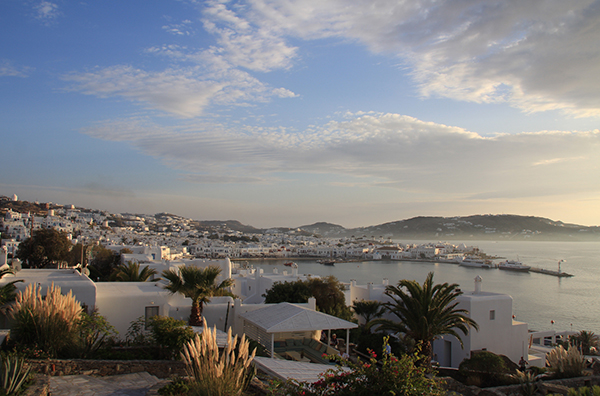 Sunset over the Port of Mykonos