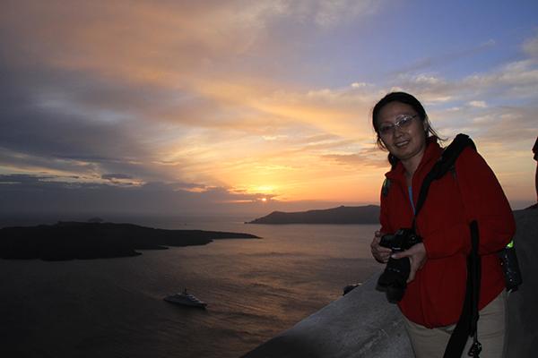 Sunset over the sea facing the caldera