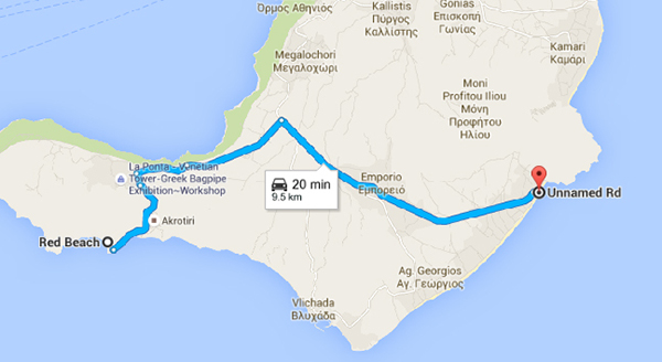 Route from Red Beach to Perissa Black Beach