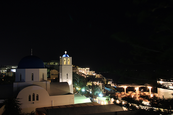 Night View of Firostefanie taken from Hotel Sofia roof top